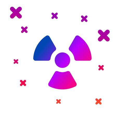 Color Radioactive icon isolated on white background. Radioactive toxic symbol. Radiation Hazard sign. Gradient random dynamic shapes. Vector Illustration Illusztráció
