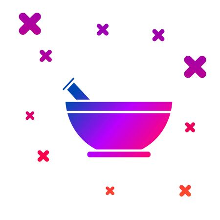 Color Mortar and pestle icon isolated on white background. Gradient random dynamic shapes. Vector Illustration
