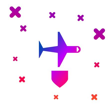 Color Plane with shield icon isolated on white background. Flying airplane. Airliner insurance. Security, safety, protection, protect concept. Gradient random dynamic shapes. Vector Illustration Иллюстрация