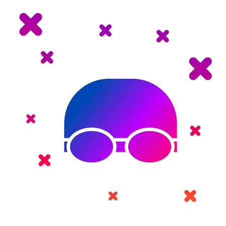 Color Glasses and cap for swimming icon isolated on white background. Swimming cap and goggles. Diving underwater equipment. Gradient random dynamic shapes. Vector Illustration