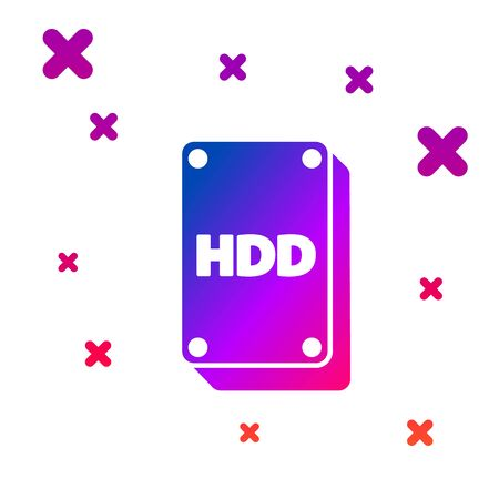 Color Hard disk drive HDD icon isolated on white background. Gradient random dynamic shapes. Vector Illustration