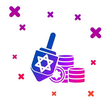 Color Hanukkah dreidel and coin icon isolated on white background. Gradient random dynamic shapes. Vector Illustration
