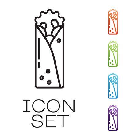 Black line Doner kebab icon isolated on white background. Shawarma sign. Street fast food menu. Set icons colorful. Vector Illustration Çizim