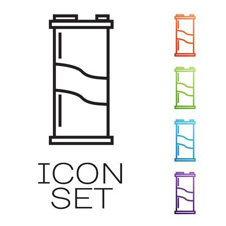 Black line Soda can icon isolated on white background. Set icons colorful. Vector Illustration Ilustração
