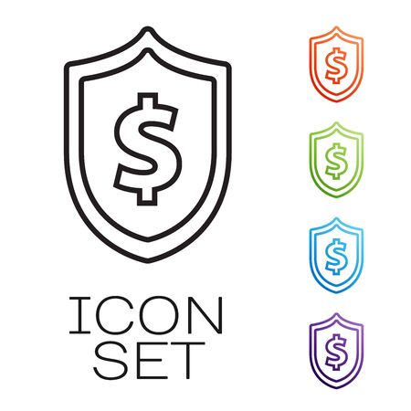 Black line Shield with dollar symbol icon isolated on white background. Security shield protection. Money security concept. Set icons colorful. Vector Illustration
