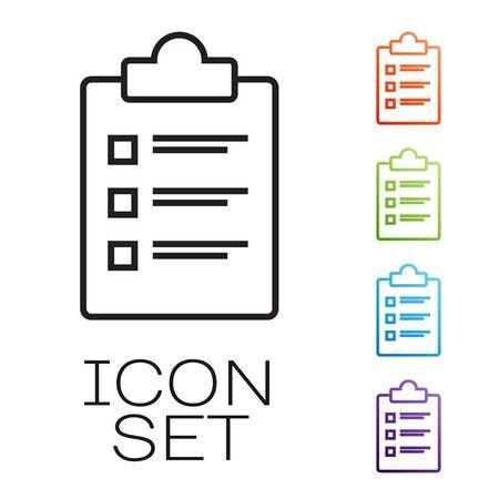 Portapapeles de línea negra con icono de lista de verificación aislado sobre fondo blanco. Símbolo de lista de control. Encuesta de encuesta o formulario de comentarios del cuestionario. Establecer iconos de colores. Ilustración vectorial