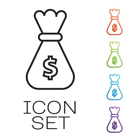 Black line Money bag icon isolated on white background. Dollar or USD symbol. Cash Banking currency sign. Set icons colorful. Vector Illustration