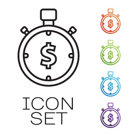 Black line Time is money icon isolated on white background. Money is time. Effective time management. Convert time to money. Stopwatch sign. Set icons colorful. Vector Illustration