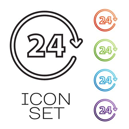 Black line Clock 24 hours icon isolated on white background. All day cyclic icon. 24 hours service symbol. Set icons colorful. Vector Illustration Illustration