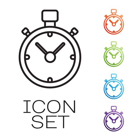 Black line Stopwatch icon isolated on white background. Time timer sign. Chronometer sign. Set icons colorful. Vector Illustration