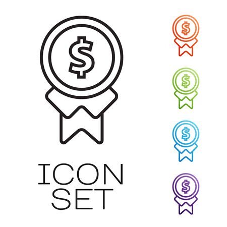 Black line Reward for good work icon isolated on white background. Employee of the month, talent award, outstanding achievement, successful person. Set icons colorful. Vector Illustration