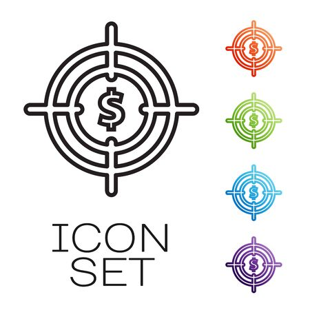 Black line Target with dollar symbol icon isolated on white background. Investment target icon. Successful business concept. Cash or Money sign. Set icons colorful. Vector Illustration