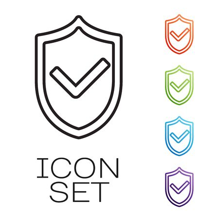 Black line Shield with check mark icon isolated on white background. Protection symbol. Security check Icon. Tick mark approved icon. Set icons colorful. Vector Illustration