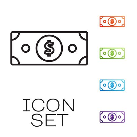 Black line Stacks paper money cash icon isolated on white background. Money banknotes stacks. Bill currency. Set icons colorful. Vector Illustration