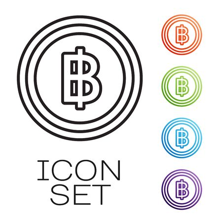 Black line Cryptocurrency coin Bitcoin icon isolated on white background. Blockchain technology, bitcoin, digital money market, cryptocoin wallet. Set icons colorful. Vector Illustration