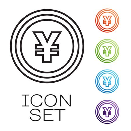 Black line Coin money with Yen symbol icon isolated on white background. Banking currency sign. Cash symbol. Set icons colorful. Vector Illustration