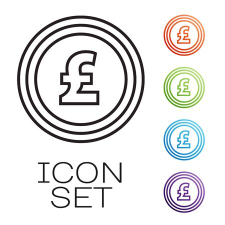Black line Coin money with pound sterling symbol icon isolated on white background. Banking currency sign. Cash symbol. Set icons colorful. Vector Illustration