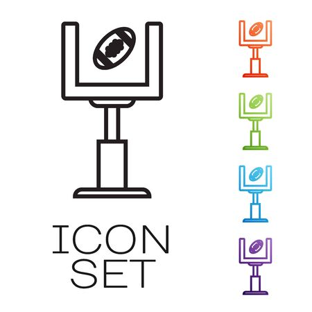 Black line American football goal post and football ball icon isolated on white background. Set icons colorful. Vector Illustration