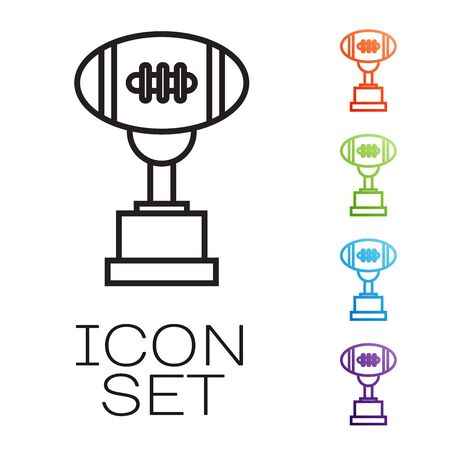Black line Award cup and American football ball icon isolated on white background. Winner trophy symbol. Championship or competition trophy. Set icons colorful. Vector Illustration