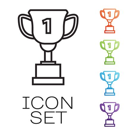Black line Award cup icon isolated on white background. Winner trophy symbol. Championship or competition trophy. Sports achievement sign. Set icons colorful. Vector Illustration