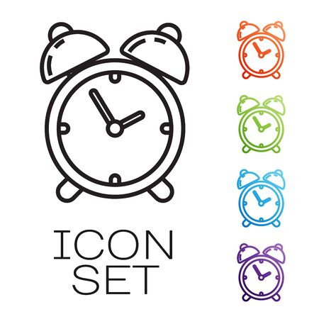 Black line Alarm clock icon isolated on white background. Wake up, get up concept. Time sign. Set icons colorful. Vector Illustration Illustration