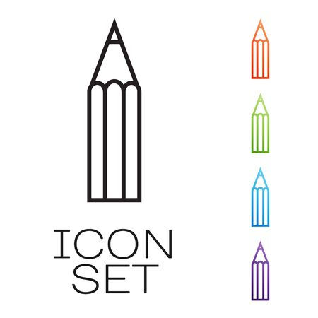 Black line Pencil icon isolated on white background. Education sign. Drawing and educational tools. School office symbol. Set icons colorful. Vector Illustration