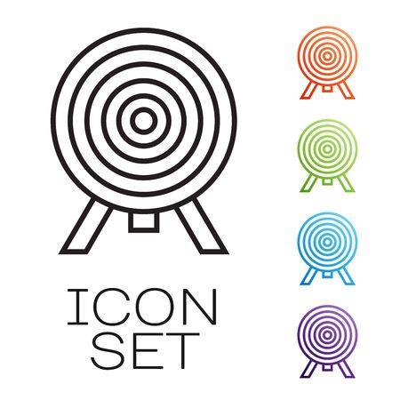 Black line Target icon isolated on white background. Dart board sign. Archery board icon. Dartboard sign. Business goal concept. Set icons colorful. Vector Illustration