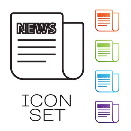 Black line News icon isolated on white background. Newspaper sign. Mass media symbol. Set icons colorful. Vector Illustration