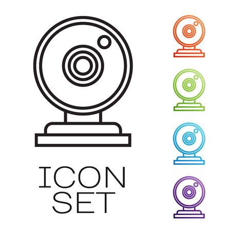 Black line Web camera icon isolated on white background. Chat camera. Webcam icon. Set icons colorful. Vector Illustration