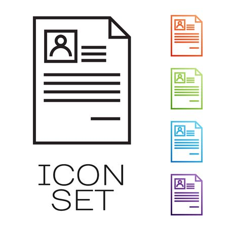 Black line Resume icon isolated on white background. CV application. Searching professional staff. Analyzing personnel resume. Set icons colorful. Vector Illustration