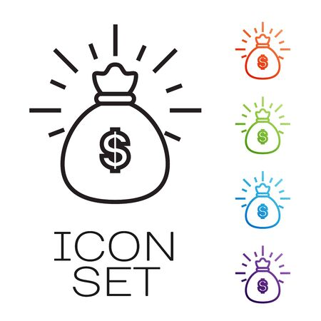 Black line Money bag icon isolated on white background. Dollar or USD symbol. Cash Banking currency sign. Set icons colorful. Vector Illustration Stok Fotoğraf - 131673049