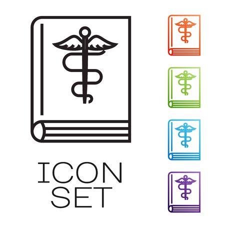 Black line Medical book icon isolated on white background. Set icons colorful. Vector Illustration Ilustração