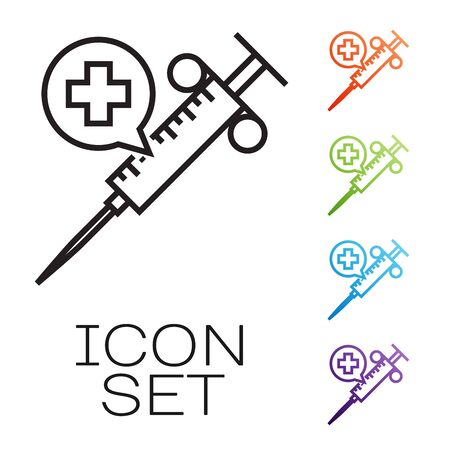 Black line Medical syringe with needle icon isolated on white background. Vaccination, injection, vaccine, insulin concept. Set icons colorful. Vector Illustration