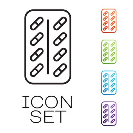 Black line Pills in blister pack icon isolated on white background. Medical drug package for tablet vitamin, antibiotic, aspirin. Set icons colorful. Vector Illustration Иллюстрация
