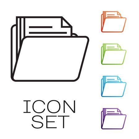 Black line Document folder icon isolated on white background. Accounting binder symbol. Bookkeeping management. Set icons colorful. Vector Illustration