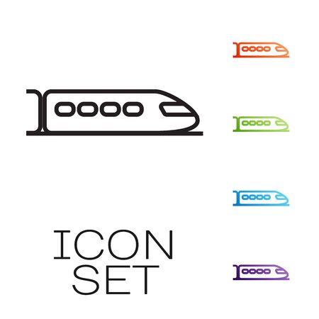Black line Train icon isolated on white background. Public transportation symbol. Subway train transport. Metro underground. Set icons colorful. Vector Illustration