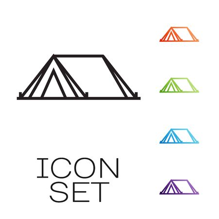 Black line Tourist tent icon isolated on white background. Camping symbol. Set icons colorful. Vector Illustration Illustration