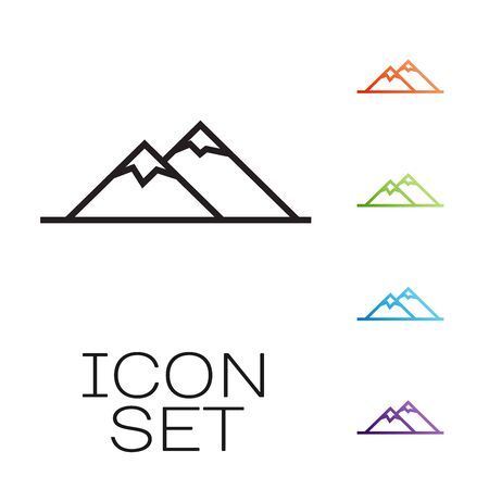 Black line Mountains icon isolated on white background. Symbol of victory or success concept. Set icons colorful. Vector Illustration