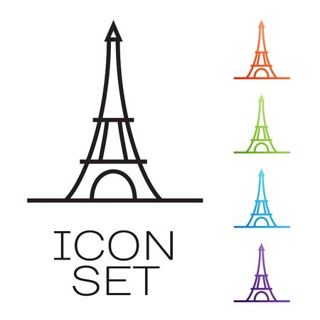 Black line Eiffel tower icon isolated on white background. France Paris landmark symbol. Set icons colorful. Vector Illustration