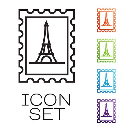 Black line Postal stamp and Eiffel tower icon isolated on white background. Set icons colorful. Vector Illustration