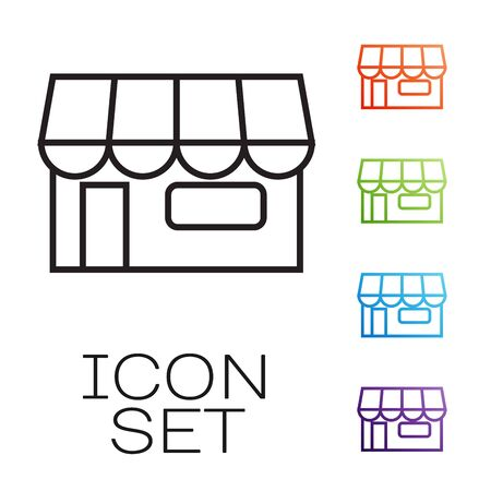 Black line Shopping building or market store icon isolated on white background. Shop construction. Set icons colorful. Vector Illustration