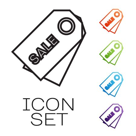 Black line Price tag with an inscription Sale icon isolated on white background. Badge for price. Promo tag discount. Set icons colorful. Vector Illustration