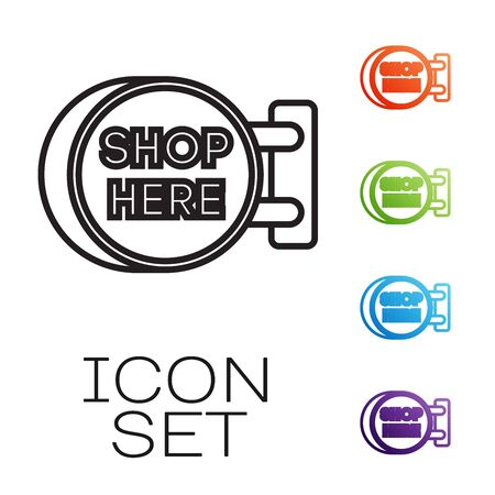 Black line Signboard hanging with an inscription shop here icon isolated on white background. Suitable for advertisements bar, cafe, pub, restaurant. Set icons colorful. Vector Illustration