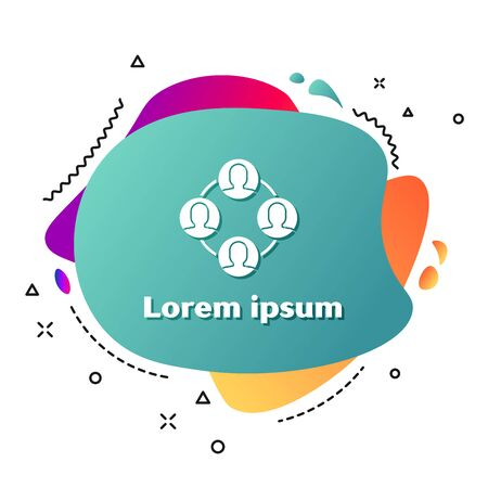 White Project team base icon isolated on white background. Business analysis and planning, consulting, team work, project management. Abstract banner with liquid shapes. Vector Illustration Çizim