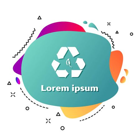 White Recycle symbol and leaf icon isolated on white background. Environment recyclable go green. Abstract banner with liquid shapes. Vector Illustration