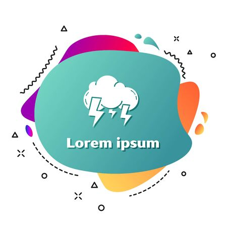 White Storm icon isolated on white background. Cloud and lightning sign. Weather icon of storm. Abstract banner with liquid shapes. Vector Illustration Ilustração