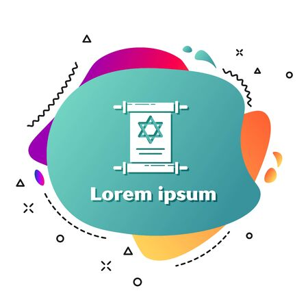 White Torah scroll icon isolated on white background. Jewish Torah in expanded form. Star of David symbol. Old parchment scroll. Abstract banner with liquid shapes. Vector Illustration