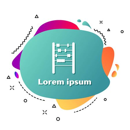 White Abacus icon isolated on white background. Traditional counting frame. Education sign. Mathematics school. Abstract banner with liquid shapes. Vector Illustration 일러스트