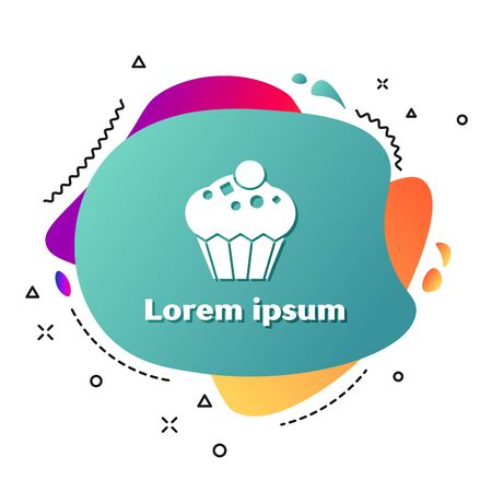 White Muffin icon isolated on white background. Abstract banner with liquid shapes. Vector Illustration