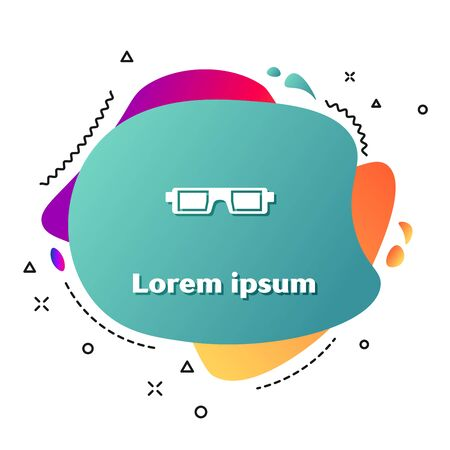 White 3D cinema glasses icon isolated on white background. Abstract banner with liquid shapes. Vector Illustration